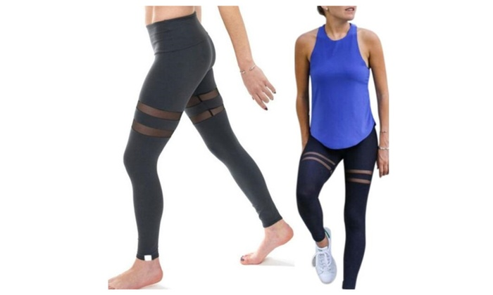 Women Sports Trouser Yoga Mesh Workout  Leggings Fitness Athletic Pant