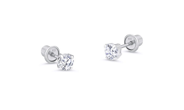 Sterling Silver Rhodium-plated Polished CZ Butterfly Children Hoop Earrings
