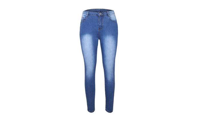 f015d573161a Blue Medium Wash Denim Midddle High-Waist Skinny Jeans For Women ...