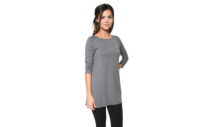 c31b1ab7eae 3 Pack Women's Loose Fit Long Elbow Sleeve Jersey Tunics | Groupon