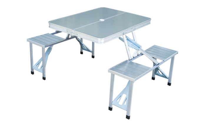 Outdoor Portable Folding Aluminum Picnic Table 4 Seats Chairs Camping ...