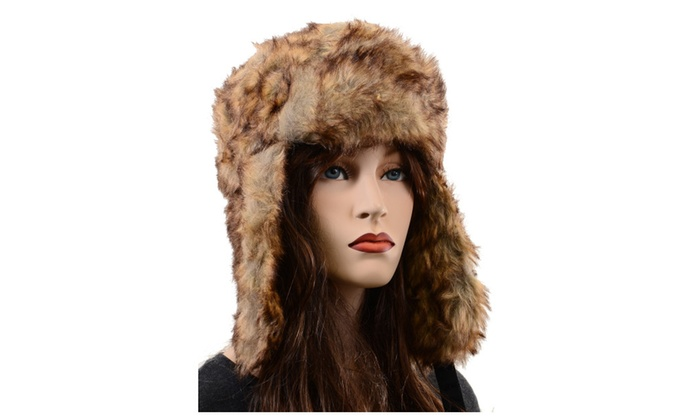 Super Furry Vegan Friendly Solid Cold Weather Ushanka Trapper Hat