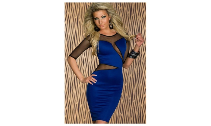 Women's Decolletage Dress with Mesh Babe Blue - Blue / one size