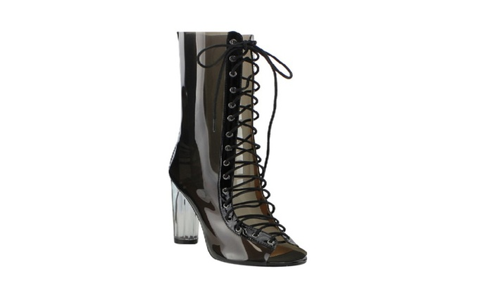 9a3a1e3f121 New Women Peep Toe Corset Lace Up Summer Boots | Groupon
