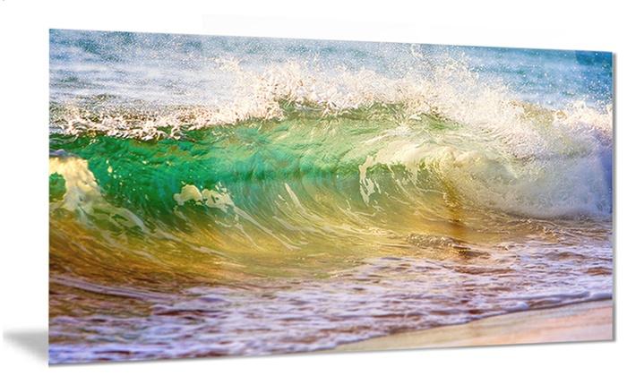 Ocean Turning Green Seascape Metal Wall Art 28x12   Groupon