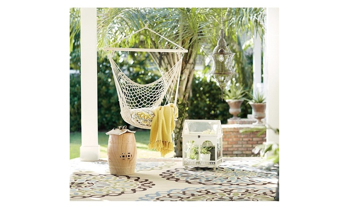 Hanging Rope Hammock Chair Swing For Indoor Or Outdoor Patio Yard Porch Etc Groupon