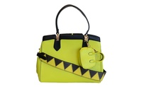 Bright Green Vegan Leather Handbag Purse w/ Miniature Coin Purse (4everfunky) photo