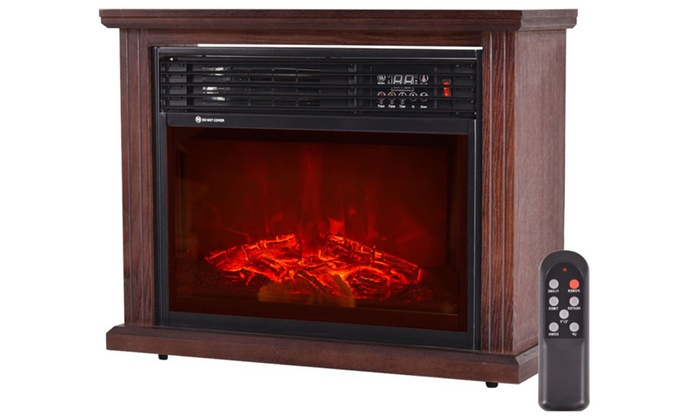 28 Free Standing Electric Fireplace 1500w Glass View Log Flame