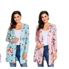Women's Casual Floral Print Drape Front Pocket Cardigan Tops Outwear