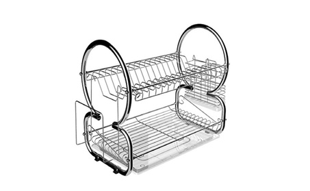 Flagup 2 Tier Steel Plating Chrome Dish Rack Cup Drying Rack Drainer aaca77b7-a7d9-42b0-89ee-d1751ff58de7