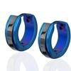 Stainless Steel Black and Blue Hoop Earrings