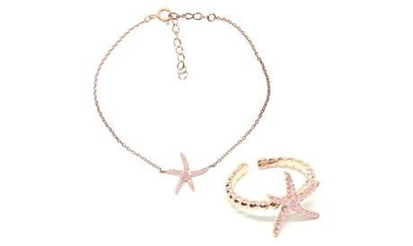 Pulsera, anillo, pendientes o collar en plata de ley 925 mm y chapados en oro rosa 18K