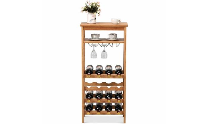 Bamboo Wine Rack Countertop Bottle Storage Free Standing w// Glass Hanger /& Shelf