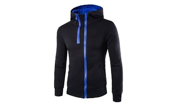 TM Men's Double Zipper Sport Slim fit Hooded Jacket Coat