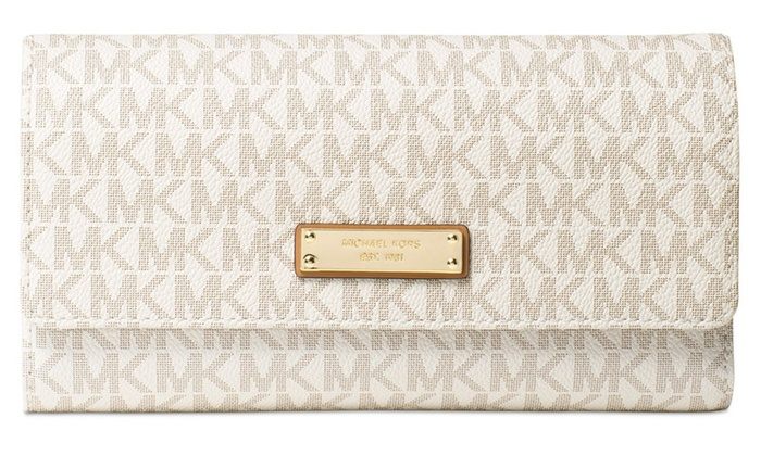 e5d374e3c8c8 MICHAEL KORS Signature Jet Set Checkbook Wallet - Vanilla or Brown ...