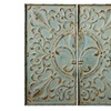 Distressed Blue Fleur de Lis Two Panel Wall Decor