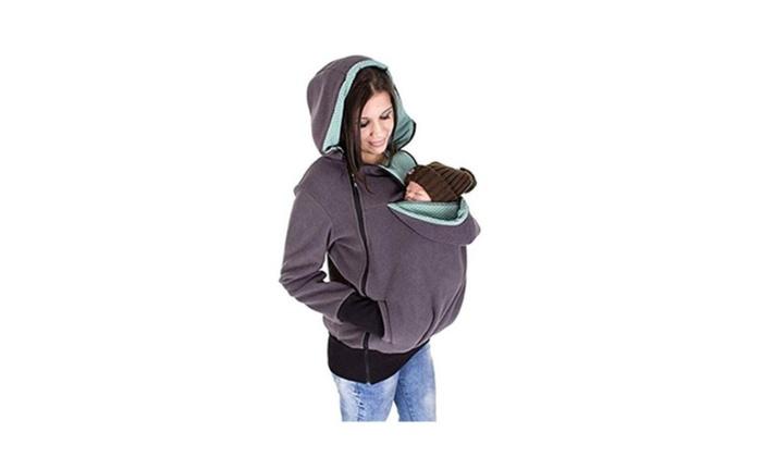 Womens Maternity Kangaroo Hooded Sweatshirt for Baby Carriers ... 9fed0e1ed2