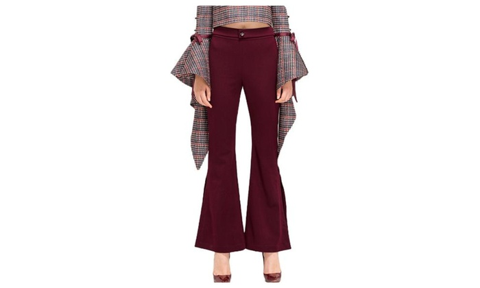 Women's Solid Boot Cut Zipper Insulation High Rise Pants