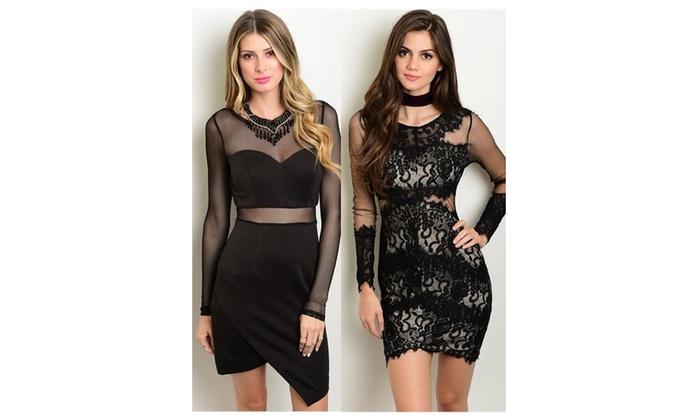 Long Sleeves Sheer Mesh Black Dresses