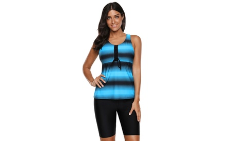 Women's Ombre Print Racerback Tankini Swimsuit