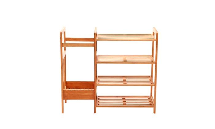 Natural Bamboo 4 Tier Shoe Rack Shoe Tower Shelf Storage Organizer ...