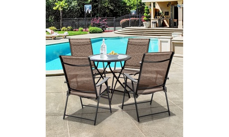 Costway 4PCS Outdoor Patio Folding Chair Camping Portable Lawn Garden W/Armrest