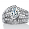 2.76 TCW CZ Ring Set in Platinum over Silver