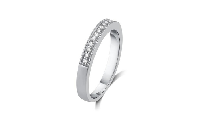 DeCarat 1//8 CT.T.W Diamond Sterling Silver Anniversary Band