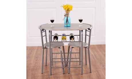 Costway 3 Piece Dining Set Table 2 Chairs Bistro Pub Home Kitchen
