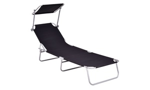 Foldable Lounge Bed Chair Beach Recliner Seat Back Black