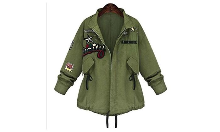 Women Casual Loose Army Green Drawstring Jacket Parka Coat Outwear