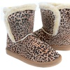 Fur Rhinestone Faux Shearling Leopard Round Toe Ankle Boot