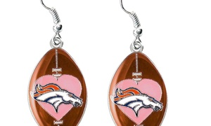 Sports Team Logo NFL Dangle Pink Heart Football Earring Set