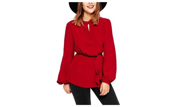 Women's Simple Straight Hem Long Sleeve Casual Blouse