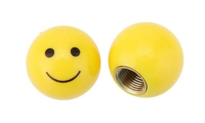 Smiley Face Bike Valve Covers (4-Pack)