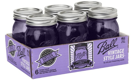 Vintage Pint Jars with Lids and Bands, Purple, Set of 6 dc474366-50bf-4ffd-aff6-723ad96ac456