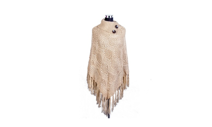 Women's High Collar Batwing Tassels Poncho Cape Winter Knit Sweater