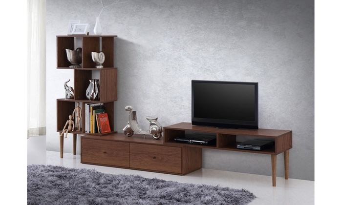 Winchester Mid Century Modern Tv Stand With Display Unit Groupon