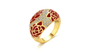 Ruby Crusted Pav'e Crystal Cocktail Ring in 14K Gold- Available in Two Colors