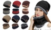 2-Pieces Winter Beanie Hat Scarf Set Thick Warm Knit Skull Cap for Adult Kids