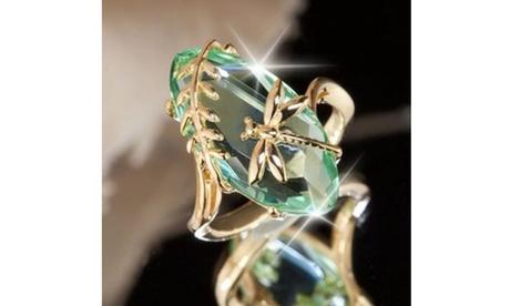 Shinny 18k Gold Natural Gemstone Transparent Emerald Dragonfly Ring Engagement