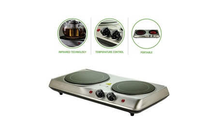 Ovente Countertop Burner, Infrared Ceramic Glass Double Plate Cooktop photo