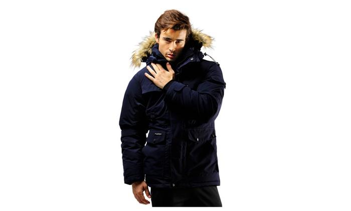 370e45a118a FUERZA FZX-895 Mens Down Wellon Raccoon Fur Hooded Parka Jacket Coat ...