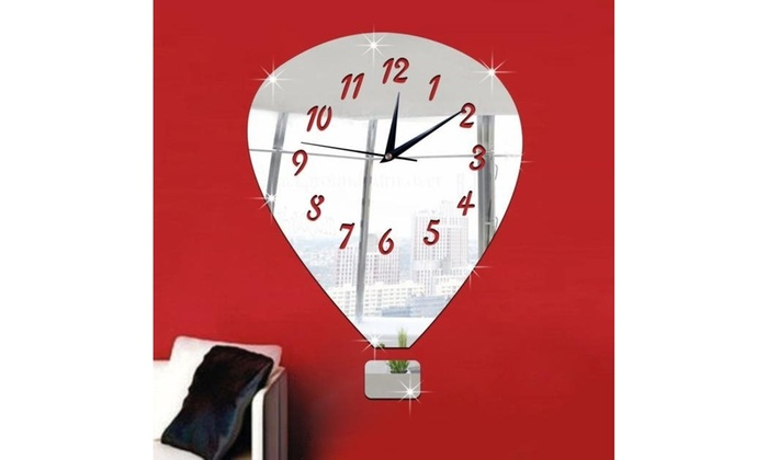 Balloon Mirror Silver Wall Clock Modern Design Home Decor Watch Sticker