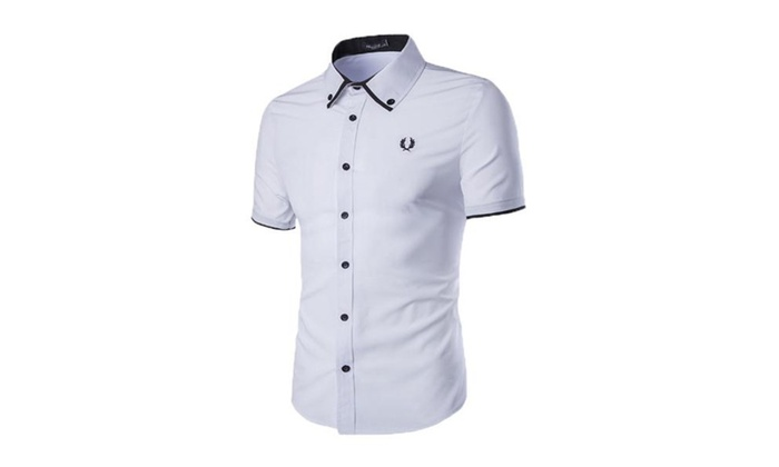 Mens Short Sleeve Dress Shirt Summer Business Shirt