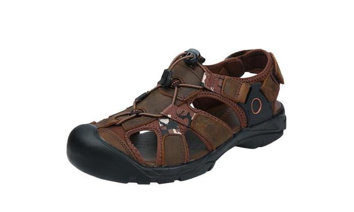Men's Leather Velcro Closed Toe Sandal