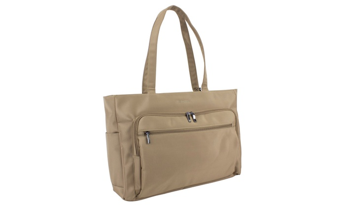 Weekender Traveler Tote with Removable Wristlet, Tan