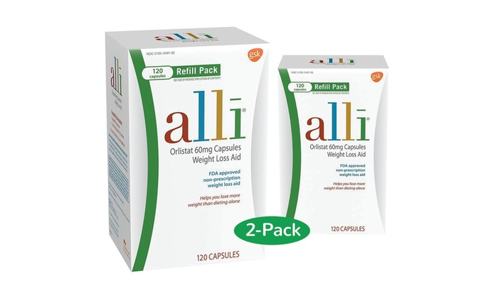 Alli Orlistat Weight Loss Aid 120 Capsules 60mg Pack Of 2