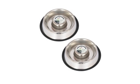 Slow-Feed Stainless Steel Bowl for Dogs and Cats (2-Pack) 4a377e79-0070-413a-83c2-cc93dc08ccc4