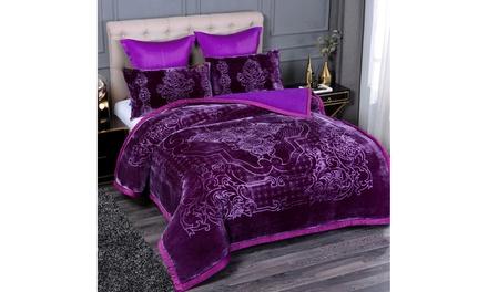 3 Piece Sherpa & Plush Comforter Set Bed Blanket